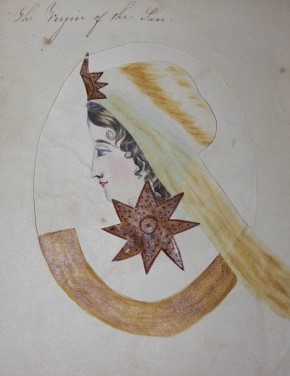 Manuscript metamorphic cut-out costume and headress overlays