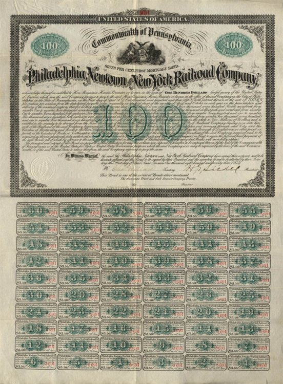 Philadelphia Newtown & New York Railroad $100 Mortgage Bond complete 1873