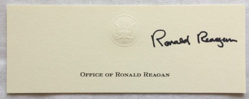 Ronald Reagan Signed White House Card